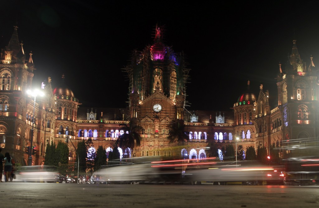 Mumbai's historic railway station Chhatrapati Shivaji Maharaj Terminus is seen before the lights were switched off for Earth Hour, in Mumbai, India, S...