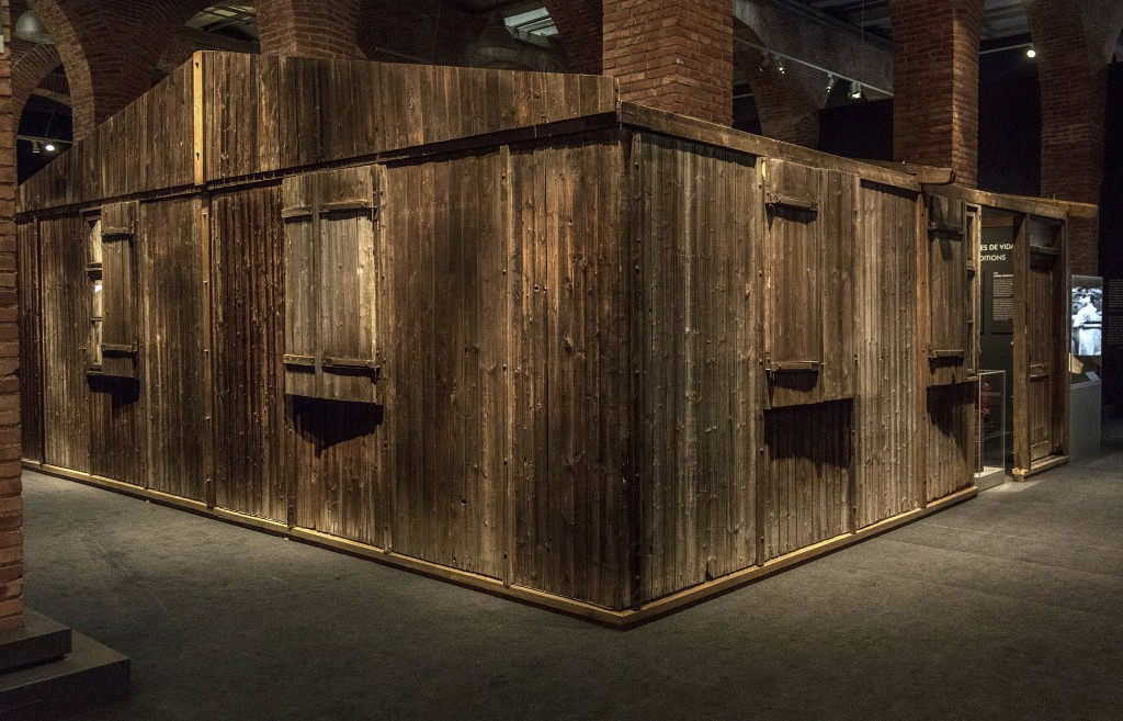 In this undated photo provided by Musealia Entertainment SL, a barrack from Auschwitz III-Monowitz labor camp is shown on exhibit in Madrid, Spain. Th...