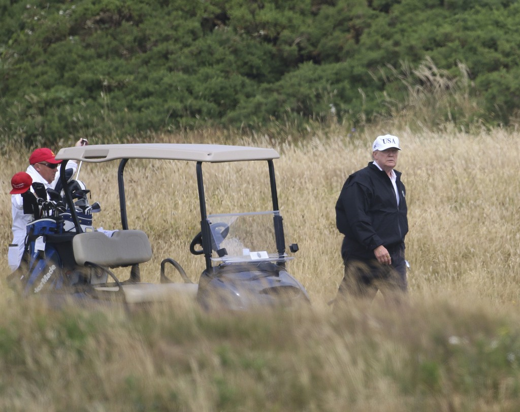 President Donald Trump plays golf at Turnberry golf club Scotland. Trump's alleged misdeeds on and