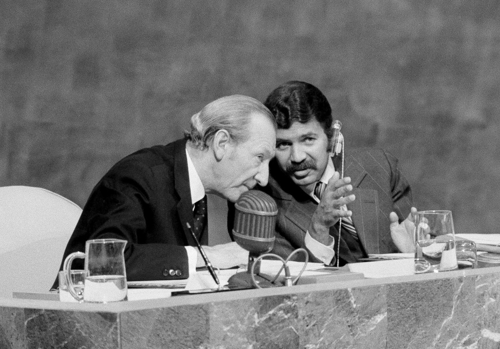 FILE - In this Sept. 18, 1974 file photo President Abdelaziz Bouteflika of Algeria, right, and UN Secretary-General Kurt Waldheim confer during the op...