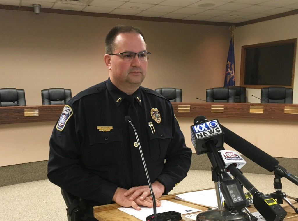 Mandan Police Chief Jason Ziegler speaks at a news conference in Mandan, N.D., Monday, April 1, 2019. Several people were found dead Monday in what po...