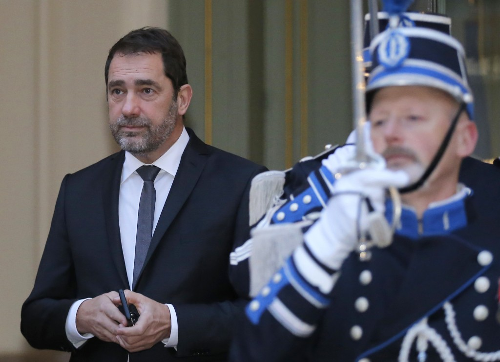 FILE - In this Jan.4, 2019 file photo, French Interior Minister Christophe Castaner, arrives at the Interior Ministry for the traditional New Year gov