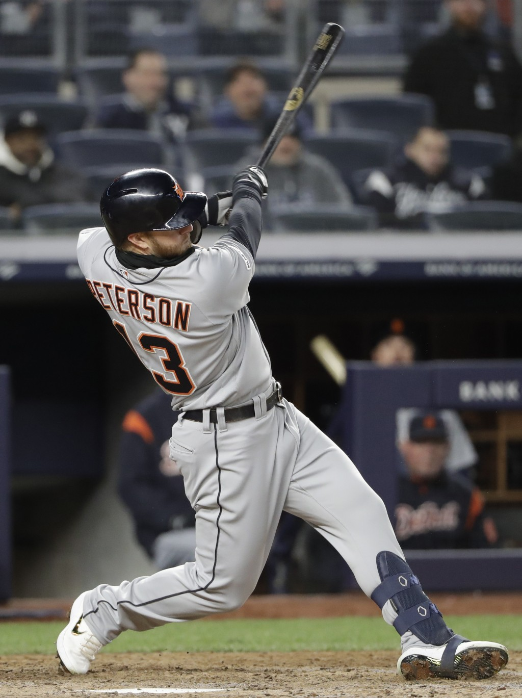 Detroit Tigers Dustin Peterson (13) hits a game-winning, run-scoring double in the ninth inning of a baseball game against the New York Yankees, Tuesd