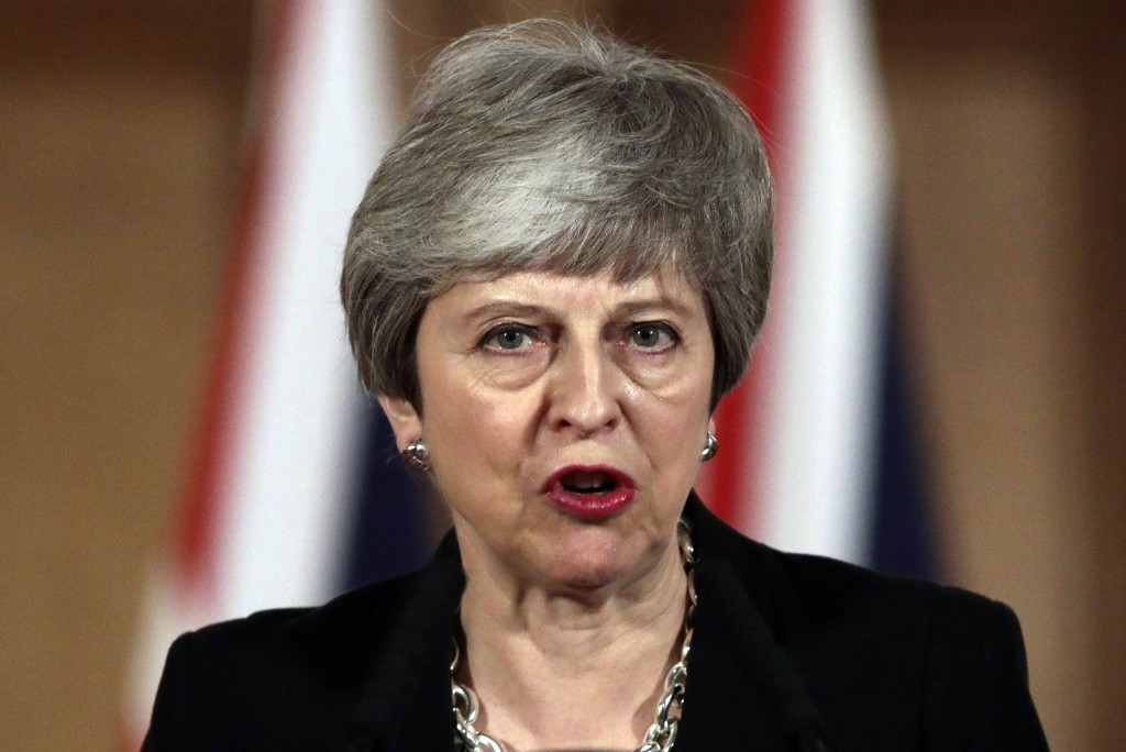 Britain's Prime Minister Theresa May gives a press conference outside Downing Street, in London, Tuesday, April 2, 2019. May said Tuesday that she wil...