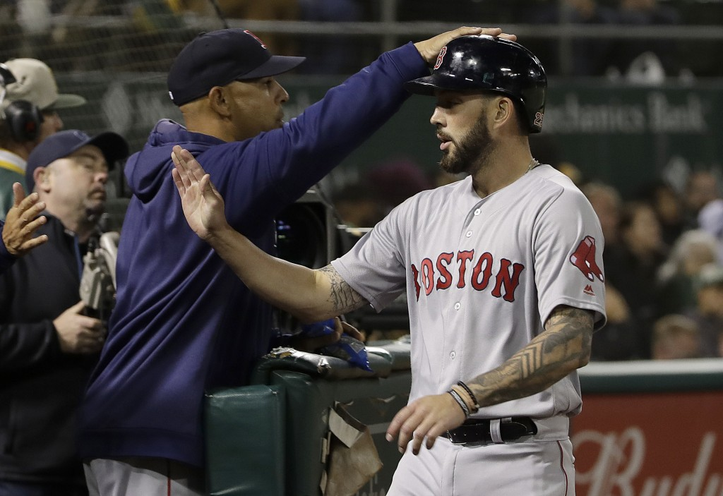Boston Red Sox's Blake Swihart, right, is congratulated by manager Alex Cora after hitting a home run against the Oakland Athletics during the fifth i