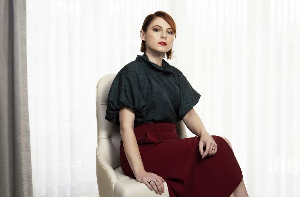 """This March 19, 2019 file photo shows Amy Seimetz posing for a portrait to promote her film """"Pet Sematary"""" at the Four Seasons Hotel in Los Angeles. (P..."""