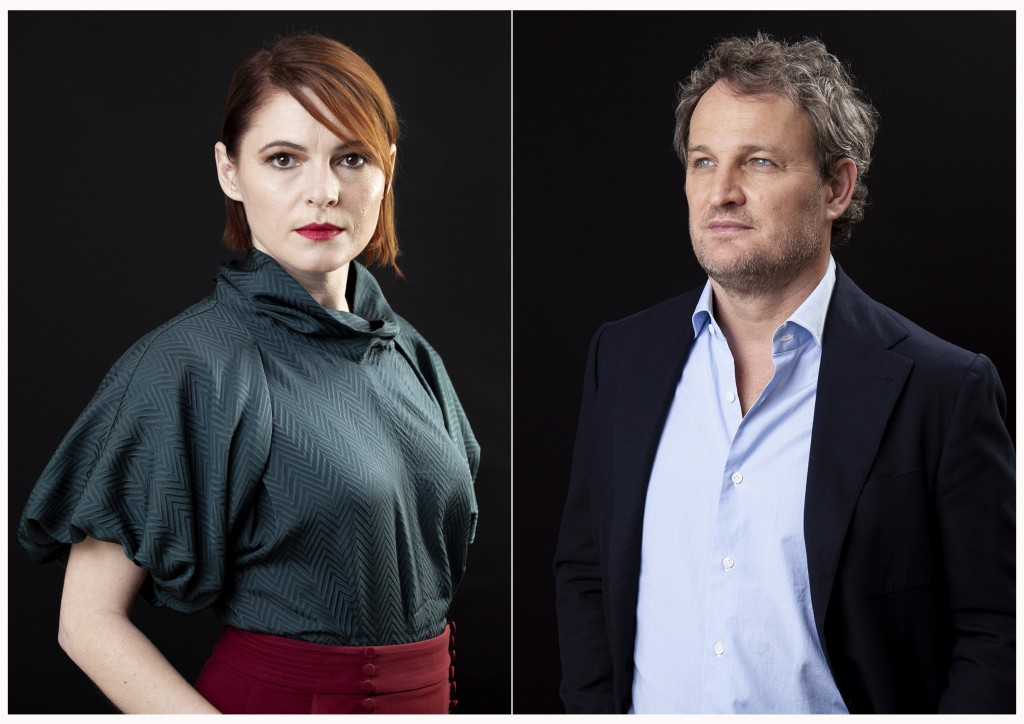 "This March 19, 2019 combination photo shows Amy Seimetz , left, and Jason Clarke posing for a portrait to promote their film ""Pet Sematary"" at the Fou"