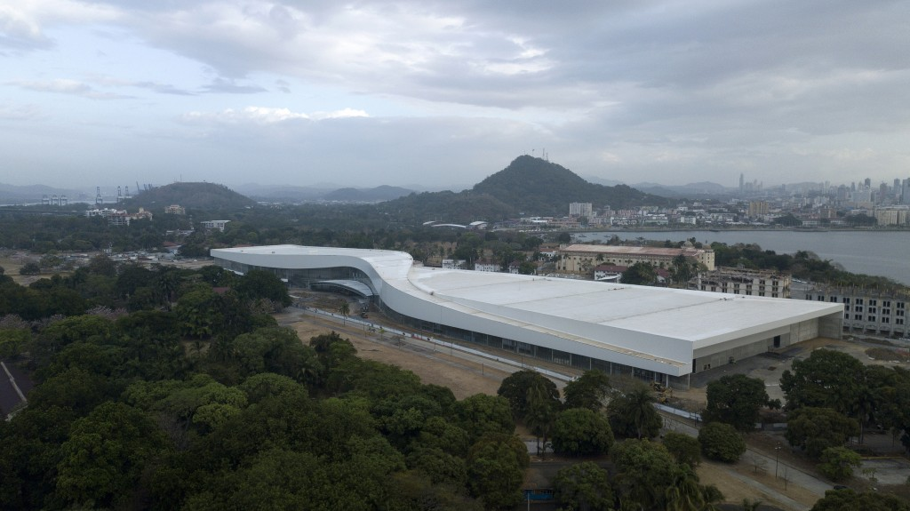 This Feb. 24, 2019, photo shows a bird's eye view of the Amador Convention Center, which is being built by Chinese contractors along the Pacific side ...