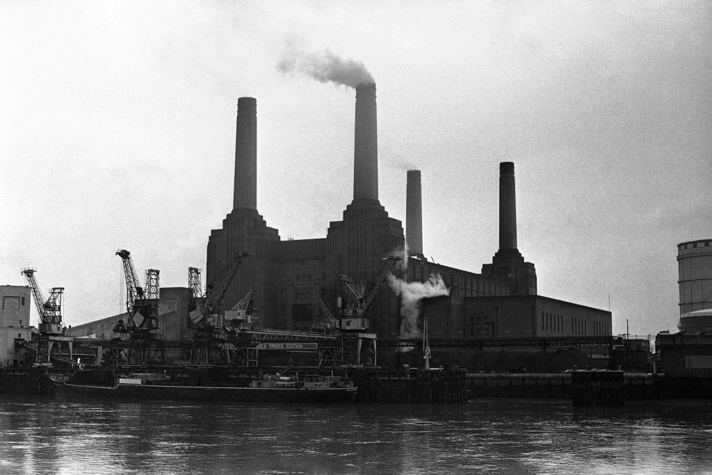 FILE - In this Feb. 12, 1974 file photo, Battersea Power Station on the south side of the River Thames in London, during the miners strike that saw th
