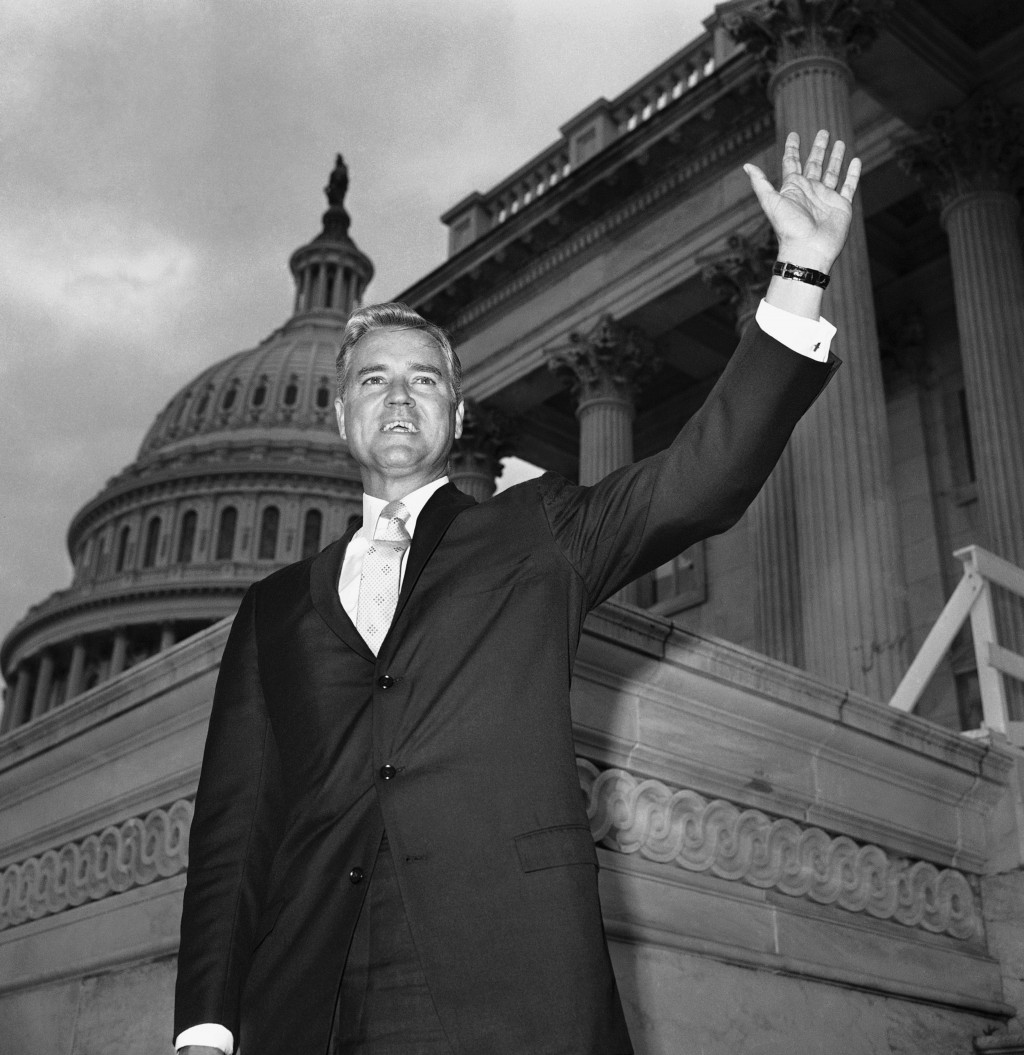 FILE - In this Nov. 10, 1966 file photo, Senator-elect Ernest Hollings, D-S.C., poses in front of the Capitol in Washington. Hollings, a moderate six-