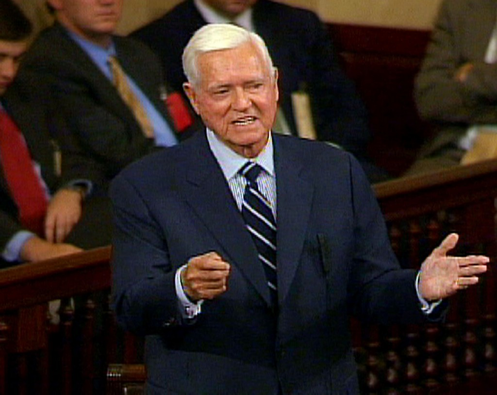 FILE - In this Nov. 16, 2004 file photo, Sen. Ernest ''Fritz'' Hollings, D-S.C., who is retiring in January, addresses the Senate  on Capitol Hill in