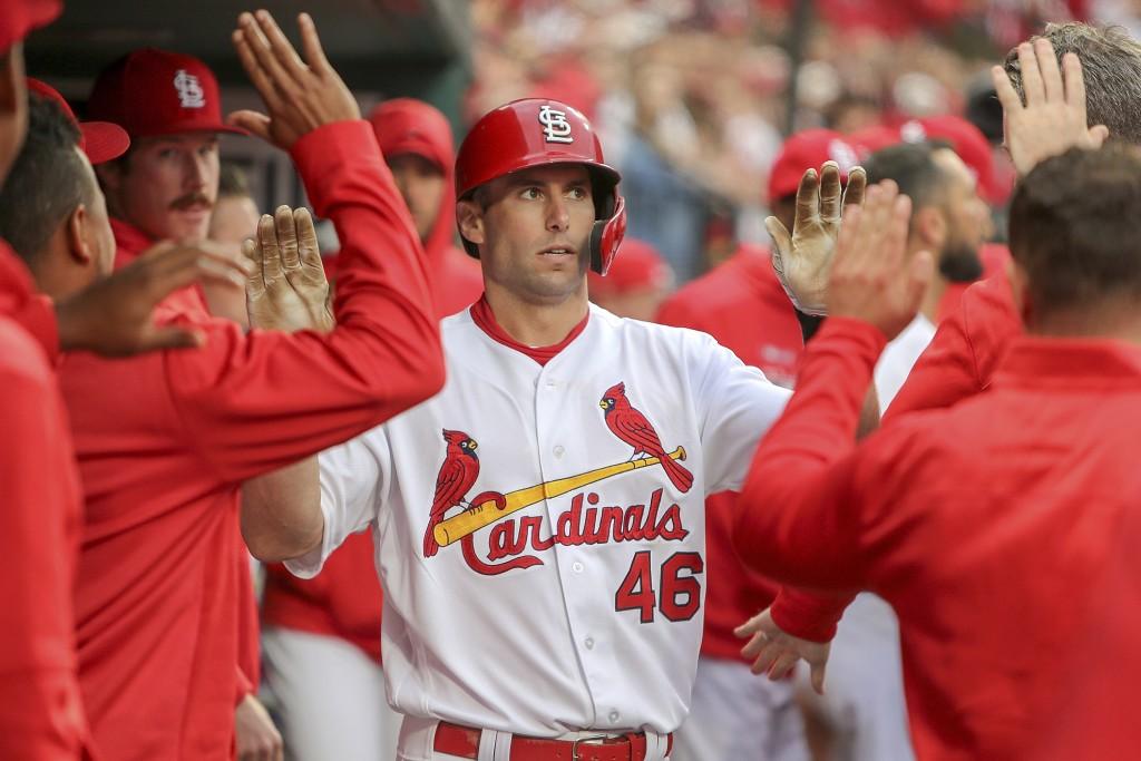 St. Louis Cardinals' Paul Goldschmidt is congratul...
