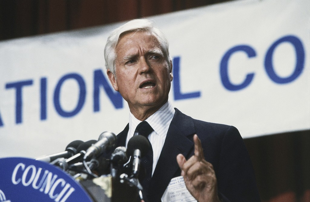FILE - This July 20, 1983 file photo shows Senator Ernest F. Hollings (D-S.C.) in Washington, DC. Hollings, a moderate six-term Democrat who made an u...