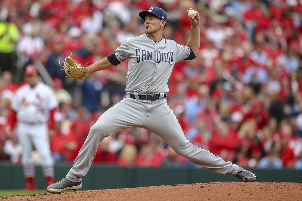 San Diego Padres starting pitcher Nick Margevicius (25) pitches during the first inning of a baseball game against the St. Louis Cardinals, Friday, Ap