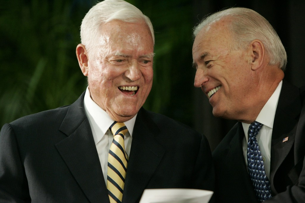 FILE - In this Friday, July 23, 2010, file photo, Vice President Joe Biden chats with former U.S. Sen. Ernest Fritz Hollings during the dedication cer