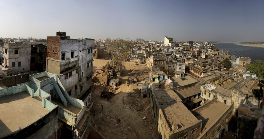 This March 19, 2019, panorama made up of multiple photographs stitched together, shows a view of demolitions done for a proposed grand promenade conne