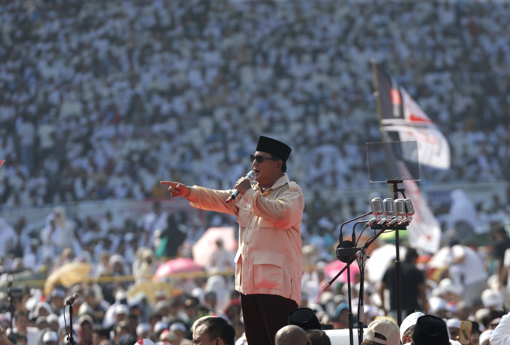 In this Sunday, April 7, 2019, file photo, Indonesian presidential candidate Prabowo Subianto speaks to supporters during a campaign rally of his Grea
