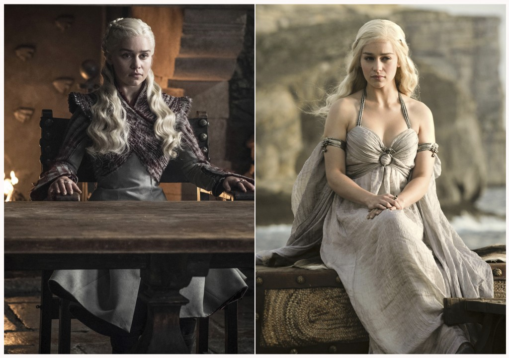 "This combination photo of images released by HBO shows Emilia Clarke portraying Daenerys Targaryen in ""Game of Thrones."" The final season of the popul"