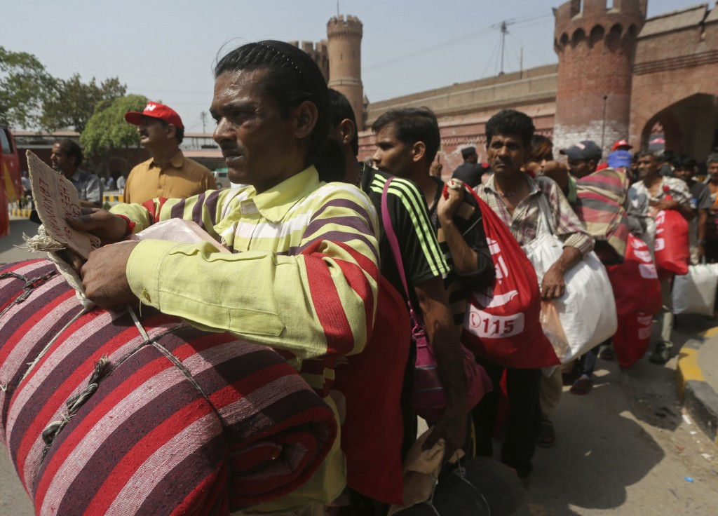 Released Indian fishermen leave the Lahore railway station on way to their homeland, in Pakistan, Monday, April 8, 2019. Pakistani officials said they