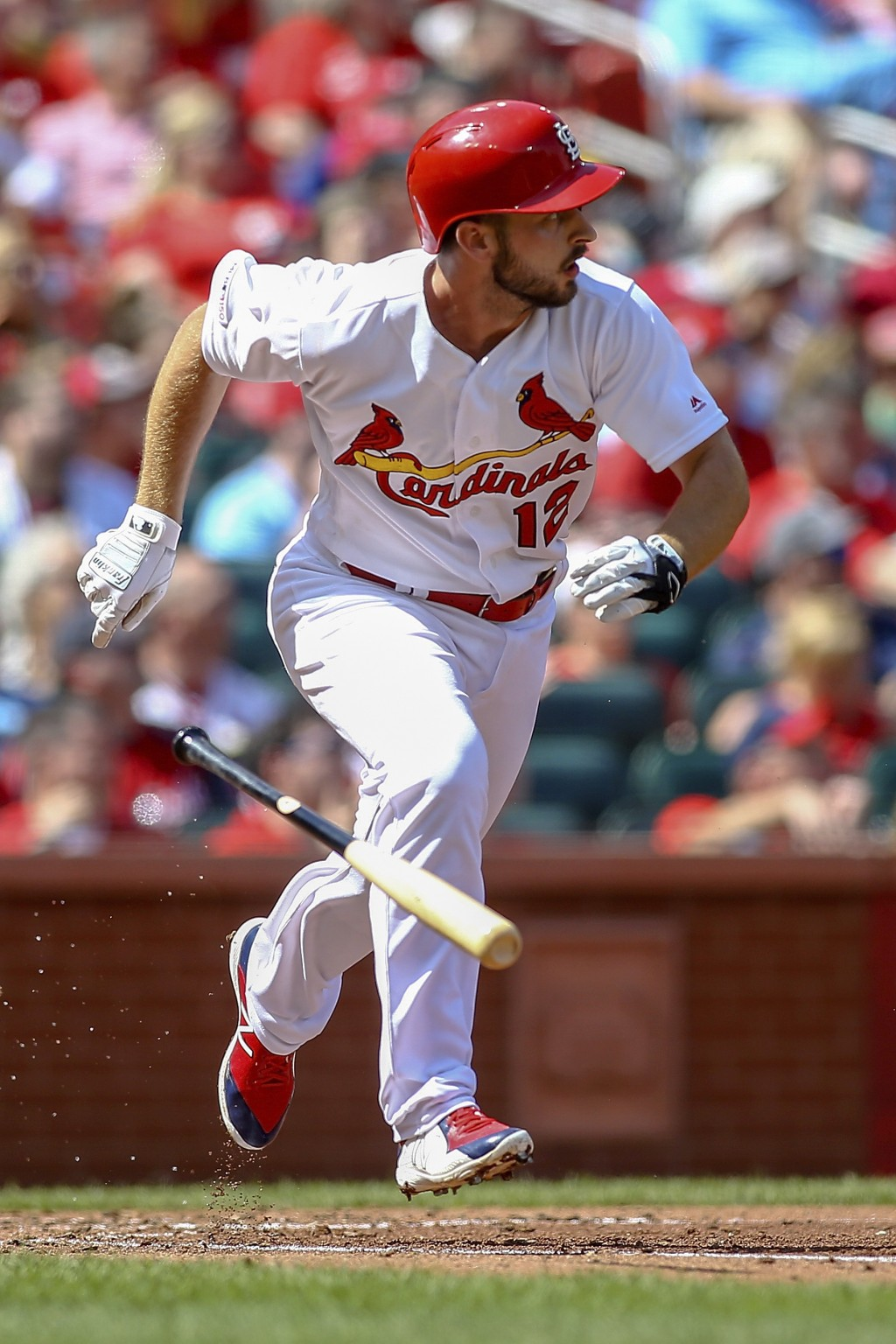 St. Louis Cardinals' Paul DeJong runs to first after hitting a two-RBI double during the fourth inning of a baseball game against the San Diego Padres...