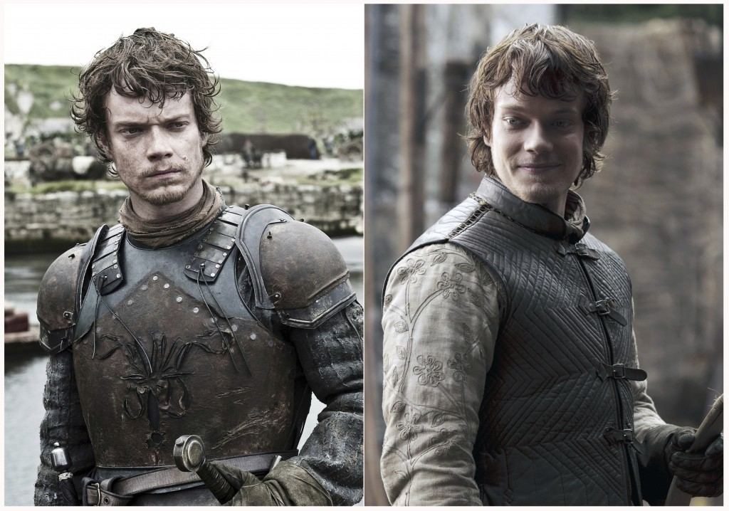 "This combination photo of images released by HBO shows Alfie Allen portraying Theon Greyjoy in ""Game of Thrones."" The final season of the popular seri"