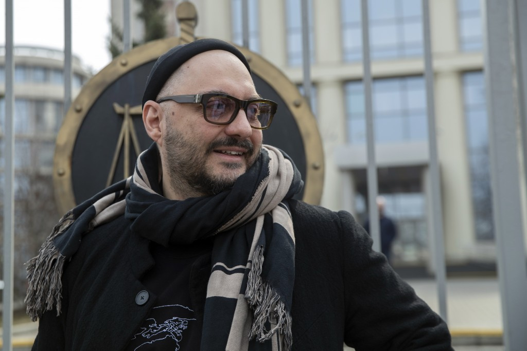 Russian theatre and film director Kirill Serebrennikov speaks to the media after a court hearing in Moscow, Russia, Monday, April 8, 2019. The Moscow