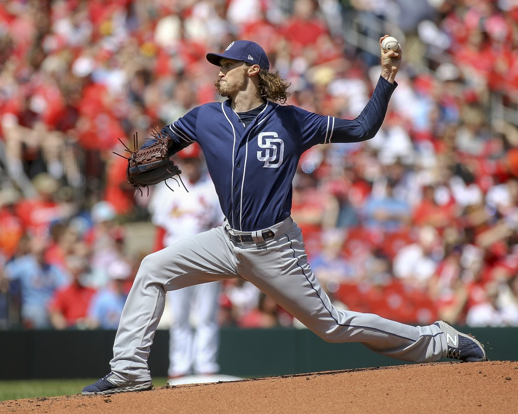 San Diego Padres starting pitcher Matt Strahm (55) pitches during the second inning of a baseball game against the St. Louis Cardinals Sunday, April 7