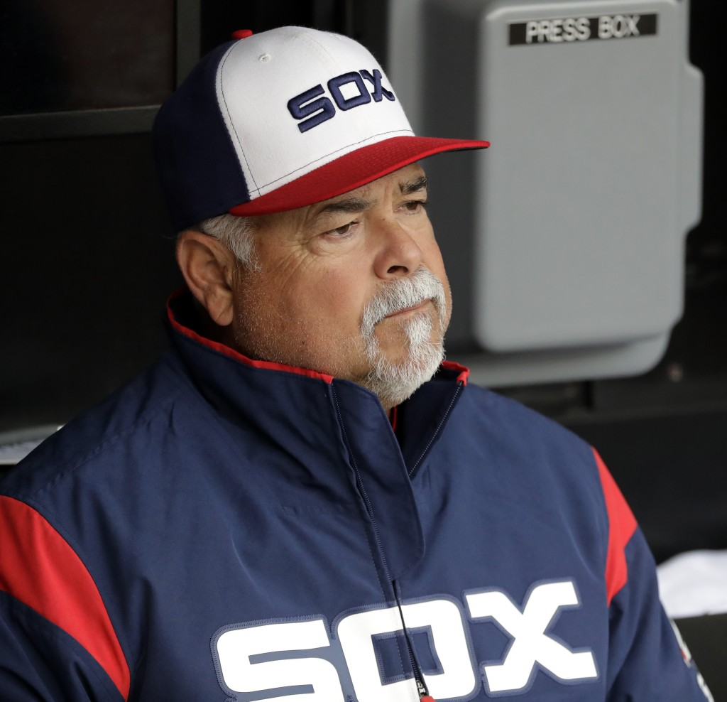Chicago White Sox manager Rick Renteria looks to the field before a baseball game against the Seattle Mariners in Chicago, Sunday, April 7, 2019. (AP ...