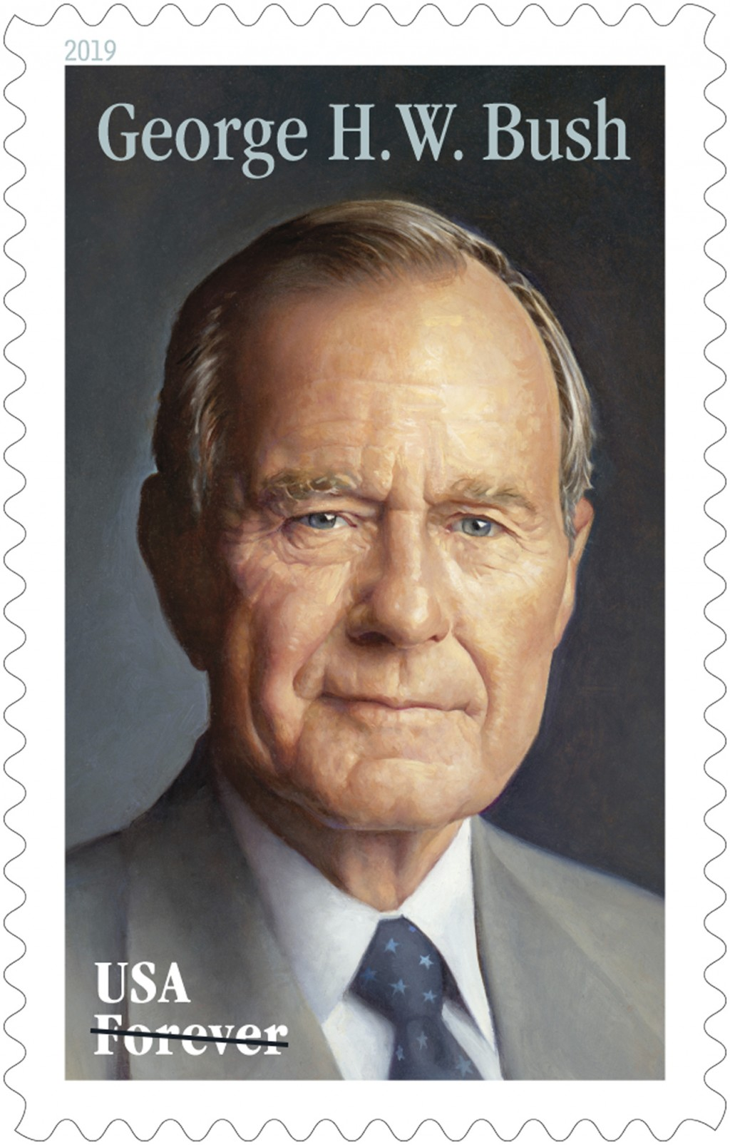This photo provided by the U.S. Postal Service shows the new Forever stamp design honoring former President George H.W. Bush. The Postal Service said