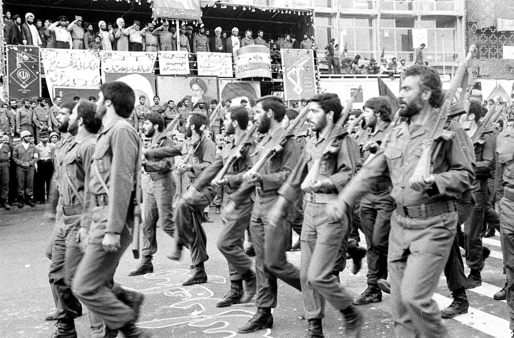 FILE - In this May 16, 1983 file photo, the newly established Islamic Revolutionary Guards Corps parade past the viewing stand in Tehran, Iran. On Mon...