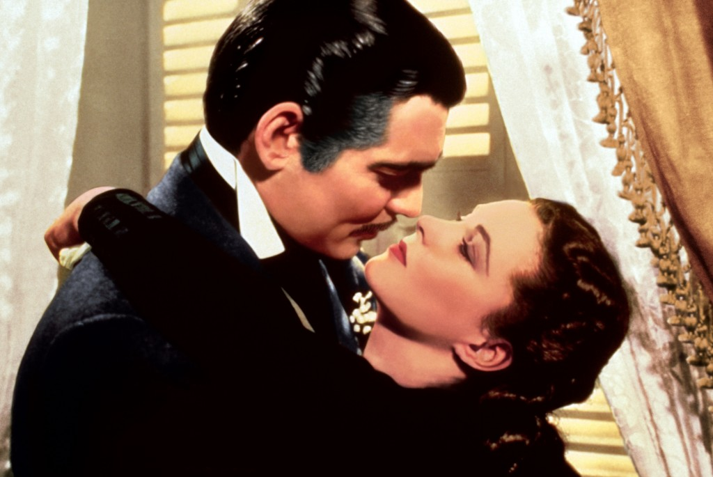 "This image released by Turner Classic Movies shows Clark Gable, left, and Vivien Leigh in a scene from ""Gone with the Wind.""   On Thursday, the TCM Cl..."