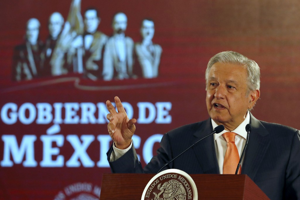 Mexican President Andres Manuel Lopez Obrador speaks during a signing ceremony in an agreement with the United Nations High Commissioner for Human Rig