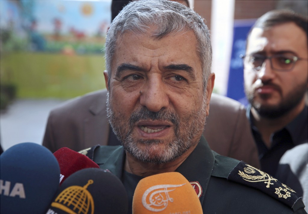 FILE - In this Oct. 31, 2017, file photo, the head of Iran's Revolutionary Guard Gen. Mohammad Ali Jafari speaks to journalists after his speech at a