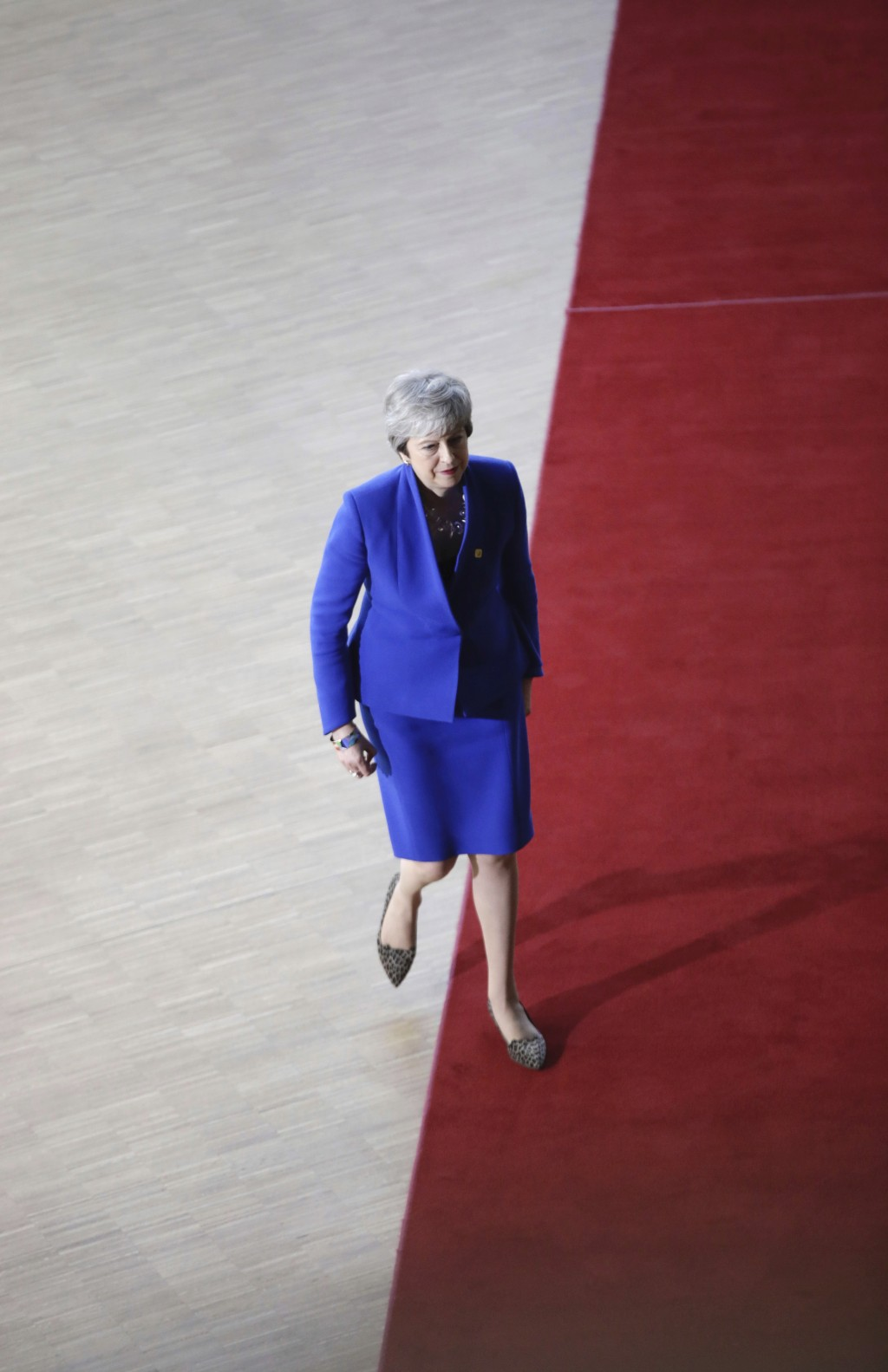 British Prime Minister Theresa May arrives for an EU summit at the Europa building in Brussels, Wednesday, April 10, 2019. European Union leaders meet...