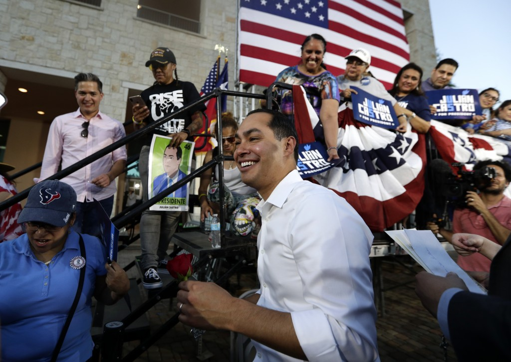 Julian Castro, a 2020 Democratic presidential candidate, greets supporters during a rally in San Antonio, Wednesday, April 10, 2019. (AP Photo/Eric Ga