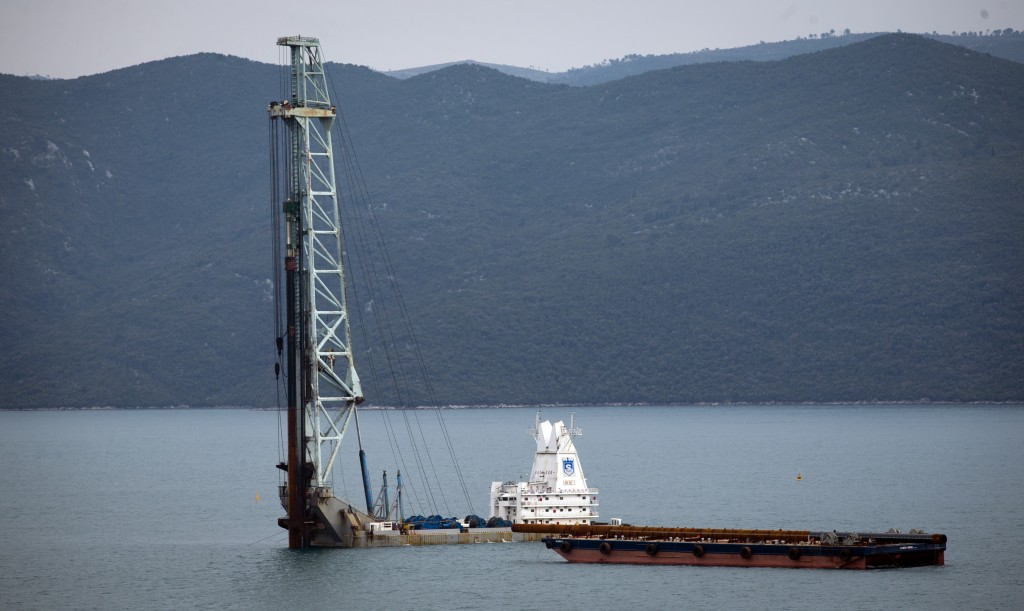 In this photo taken Tuesday, April 9, 2019, construction site of Peljesac bridge, the largest European infrastructural project built by a Chinese comp...