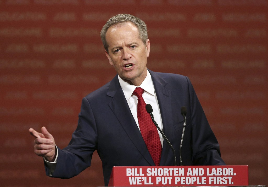 In this June 19, 2016, file photo, opposition Labor Party leader Bill Shorten delivers a speech in Sydney. Shorten, an outspoken critic of U.S. Presid...