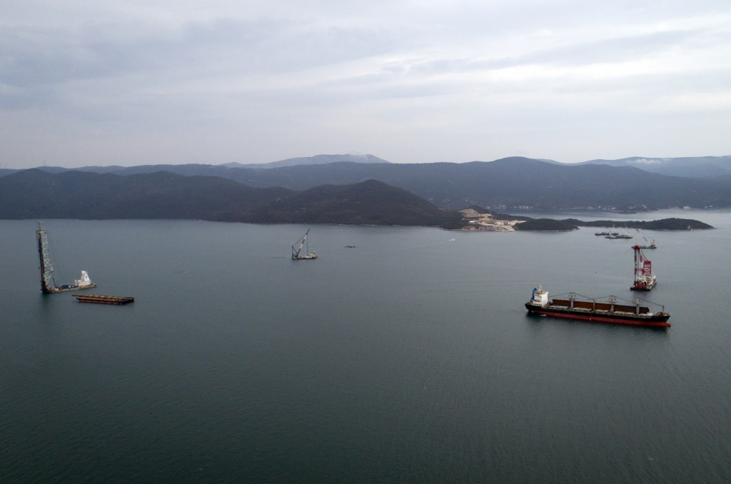 In this photo taken Tuesday, April 9, 2019, construction site of Peljesac bridge, the largest European infrastructural project built by a Chinese comp