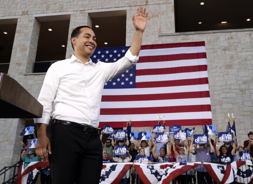 Julian Castro, a 2020 Democratic presidential candidate acknowledges supporters after delivering comments during a rally in San Antonio, Wednesday, Ap