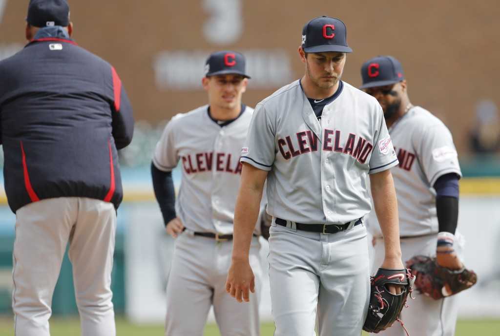Cleveland Indians starting pitcher Trevor Bauer is relieved during the sixth inning of a baseball game against the Detroit Tigers, Wednesday, April 10...