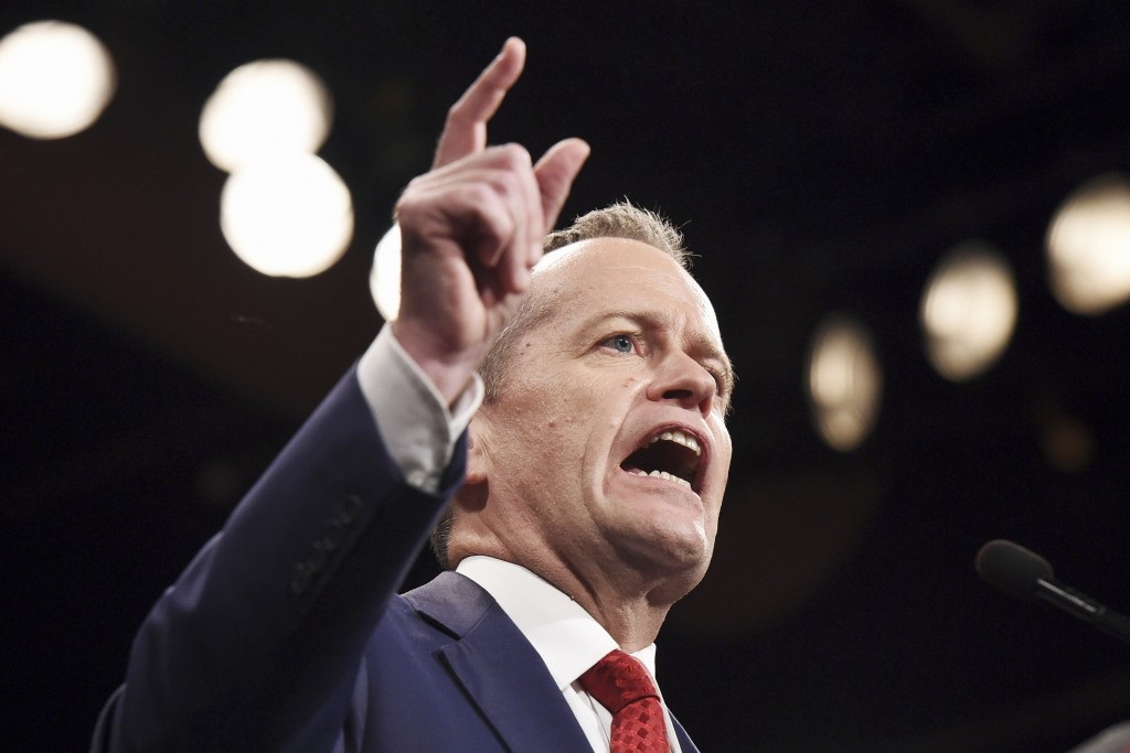 In this June 19, 2016, file photo, Australia's opposition Labor Party leader Bill Shorten speaks in Sydney. Shorten, an outspoken critic of U.S. Presi...