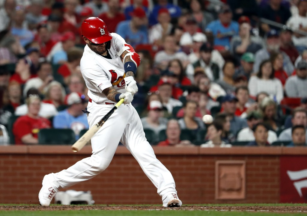 St. Louis Cardinals' Yadier Molina hits a two-run home run during the sixth inning of the team's baseball game against the Los Angeles Dodgers on Wedn