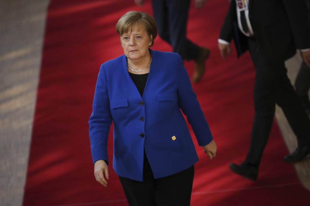 German Chancellor Angela Merkel arrives for an EU summit at the Europa building in Brussels, Wednesday, April 10, 2019. European Union leaders meet We...