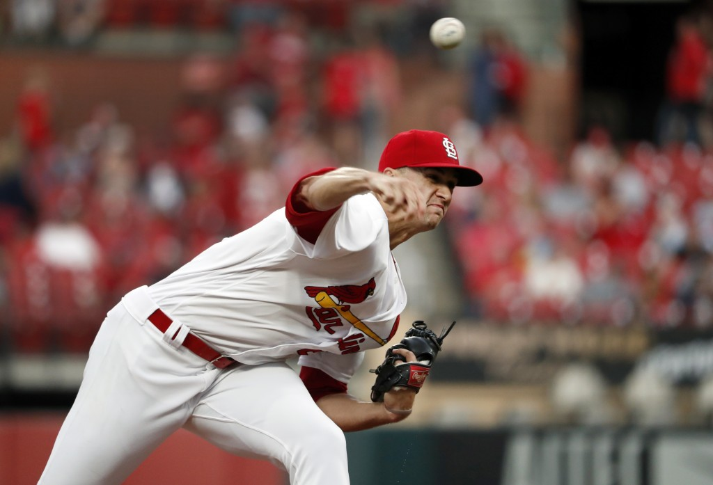 St. Louis Cardinals starting pitcher Jack Flaherty throws during the first inning of the team's baseball game against the Los Angeles Dodgers on Wedne