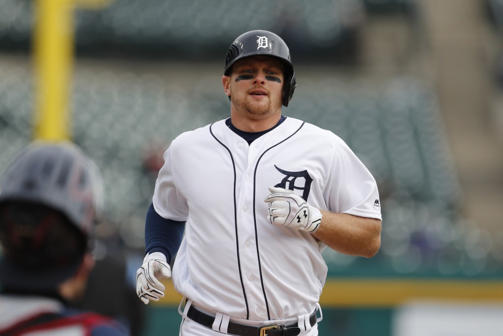 Detroit Tigers' John Hicks heads home after his solo home run off Cleveland Indians starting pitcher Trevor Bauer during the sixth inning of a basebal...
