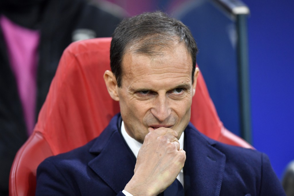 FILE - In this Wednesday, April 10, 2019 filer, Juventus coach Massimiliano Allegri stands on the touchline before the Champions League quarterfinal,