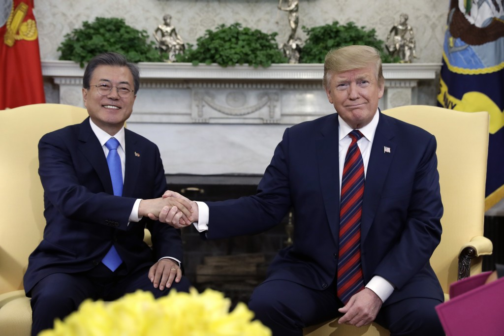 President Donald Trump meets with South Korean President Moon Jae-in in the Oval Office of the White House, Thursday, April 11, 2019, in Washington. (