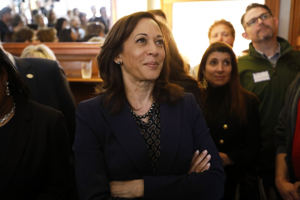 2020 Democratic presidential candidate Sen. Kamala Harris waits to speak at a house party, Thursday, April 11, 2019, in Des Moines, Iowa. (AP Photo/Ch...