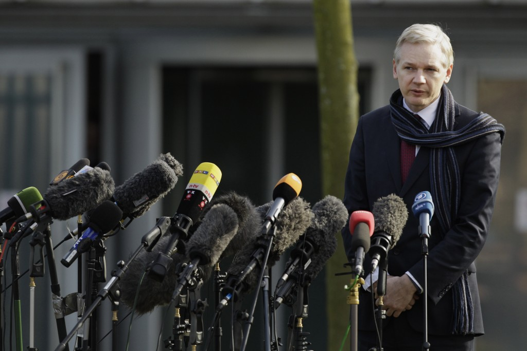 FILE - In this Feb. 24, 2011, file photo, the founder of WikiLeaks Julian Assange speaks to the media after his extradition hearing at Belmarsh Magist