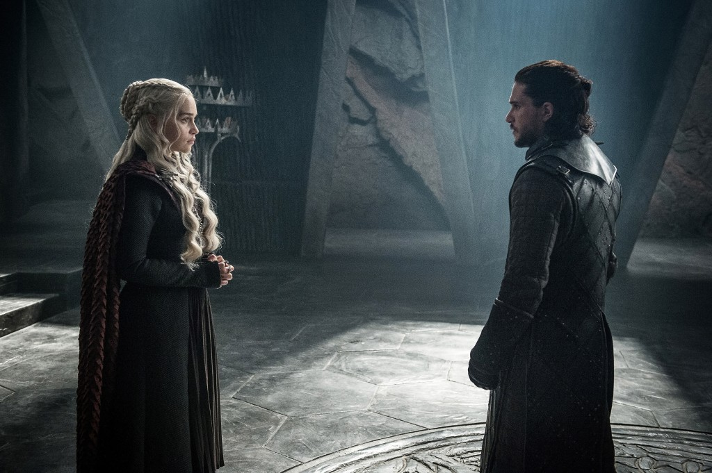 "This photo provided by HBO shows Emilia Clarke as Daenerys Targaryen and Kit Harington as Jon Snow in a scene from HBO's ""Game of Thrones.""  The final"